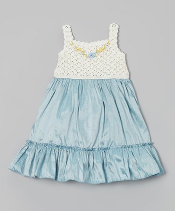 Aqua Crocheted Ruffle Silk-Blend Dress - Infant, Toddler & Girls