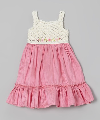 Pink Crocheted Ruffle Silk-Blend Dress - Infant, Toddler & Girls