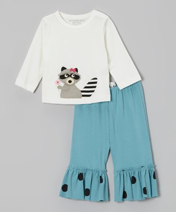 Off-White Raccoon Tee & Aqua Pants - Infant, Toddler & Girls