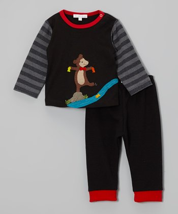 Black Fishing Bear Tee & Pants - Infant, Toddler & Boys