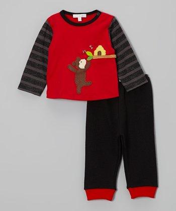Red Honey Bear Tee & Black Pants - Infant, Toddler & Boys