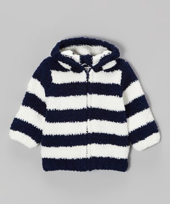 Navy & White Stripe Chenille Hoodie - Infant & Toddler