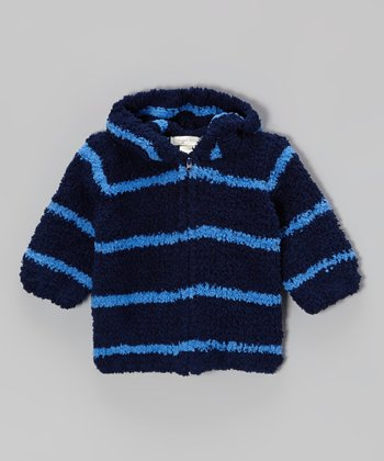 Navy & Blue Stripe Chenille Hoodie - Infant & Toddler