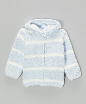 Light Blue & White Stripe Chenille Hoodie - Infant & Toddler