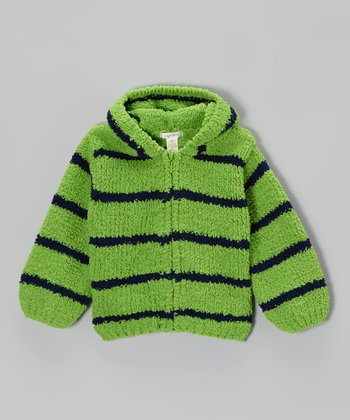 Green & Navy Stripe Chenille Hoodie - Toddler