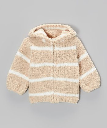 Tan & White Stripe Chenille Hoodie - Infant & Toddler