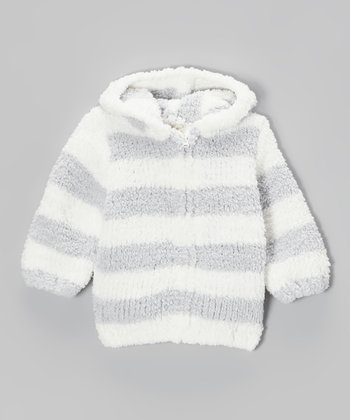 Light Gray & White Stripe Chenille Hoodie - Infant & Toddler