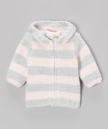 Light Gray & Light Pink Stripe Chenille Hoodie - Infant & Toddler
