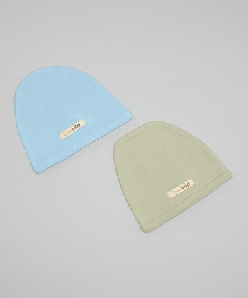 Blue & Green Beanie Set