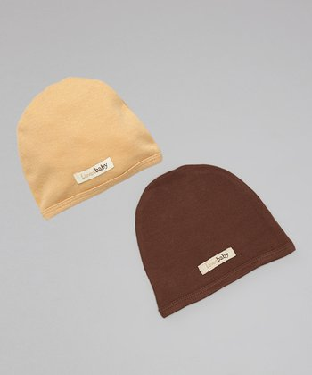Caramel & Brown Beanie Set