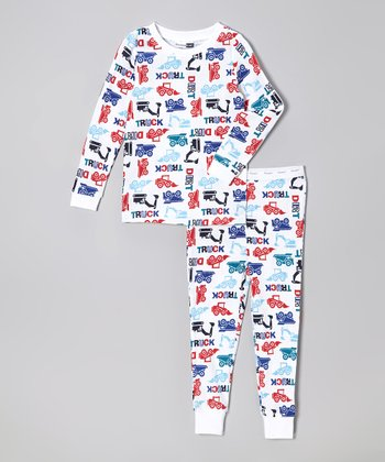 White Trucks Thermal Pajama Set - Infant & Toddler