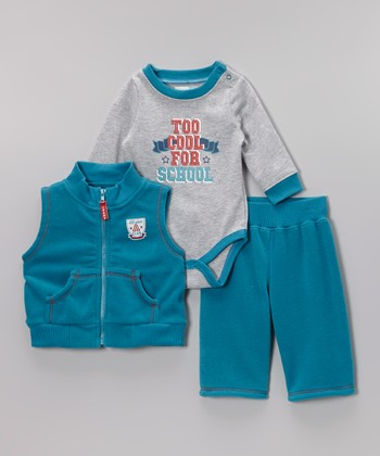 Turquoise 'Too Cool for School' Bodysuit Set - Infant