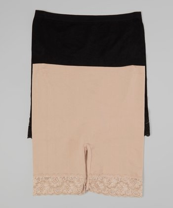 Black & Nude Lace Shaper Shorts Set - Women