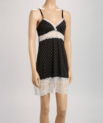 Black & Ivory Polka Dot Lace Chemise - Women
