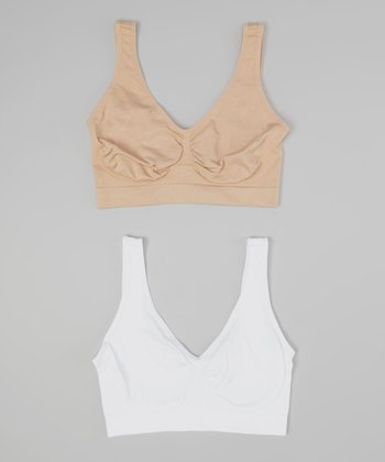 Tan & White Seamless Wireless Bra Set - Women