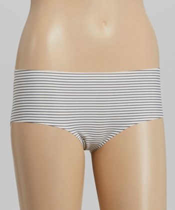 Gray & White Stripe Laser-Cut Shaper Hipster - Women