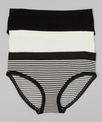 Black & Ivory Stripe Seamless Briefs Set - Women
