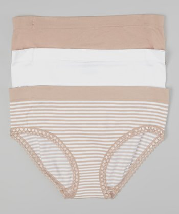 Nude & White Stripe Seamless Briefs Set - Women