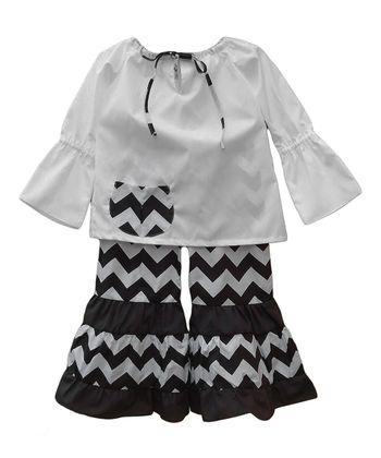 Brown Zigzag Peasant Top & Pants - Toddler & Girls