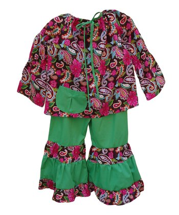 Pink & Green Paisley Top & Ruffle Pants - Toddler & Girls