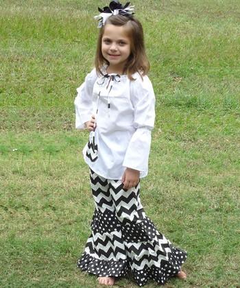 Black Zigzag Peasant Top & Pants - Toddler & Girls