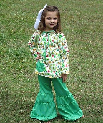 Green Christmas Peasant Top & Pants - Toddler & Girls