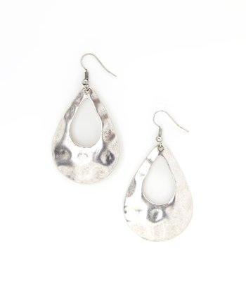 Silver Hammered Tear Drop Earrings