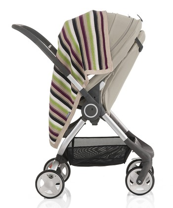 Green Stripe Knit Stroller Blanket