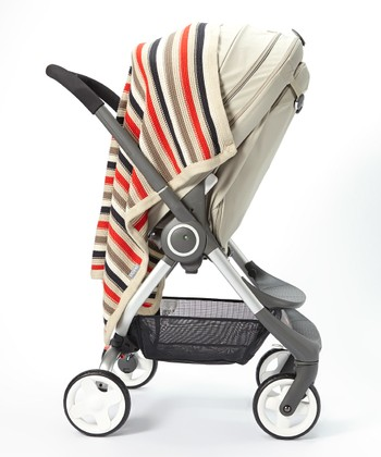 Brown Stripe Knit Stroller Blanket