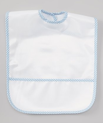 White & Blue Plaid Laminated Bib