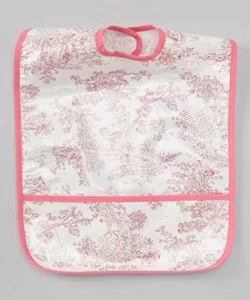 White & Pink Toile Laminated Bib