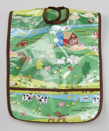 Green & Brown Barnyard Laminated Bib