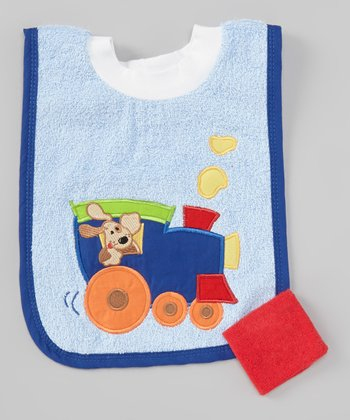 Blue Puppy Train Pullover Bib & Red Washcloth