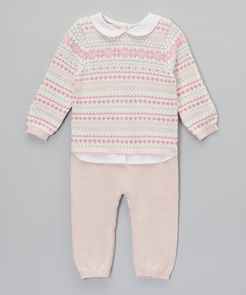 Pink Geometric Sweater Bodysuit - Infant