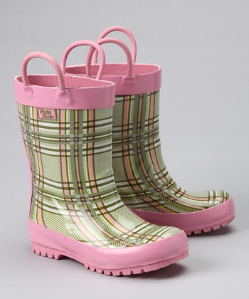 Green & Pink Plaid Rain Boot