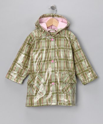 Green & Pink Plaid Fleece-Lined Raincoat - Infant, Toddler & Girl