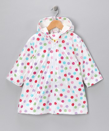 White Polka Dot Fleece-Lined Raincoat - Infant, Toddler & Girls