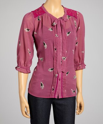 Fuchsia Lace Blackbird Three-Quarter Sleeve Top
