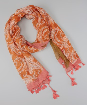 Orange & Pink Paisley Fringe Scarf