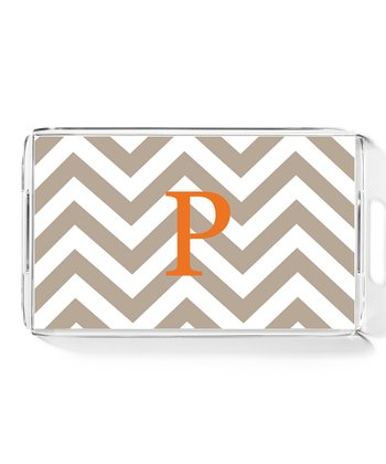 Tan & Orange Zigzag Large Initial Tray