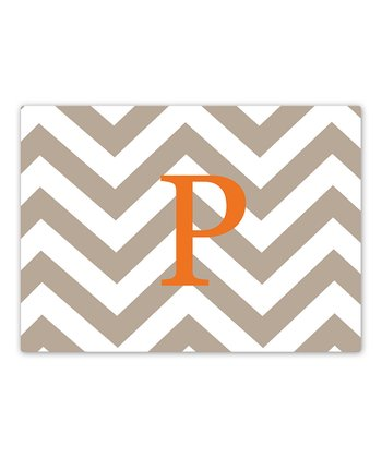 Tan & Orange Zigzag Initial Glass Cutting Board