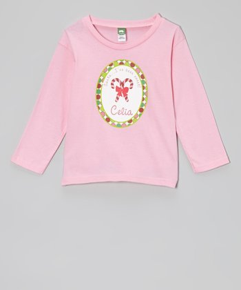 Pink Candy Cane Personalized Tee - Infant, Toddler & Girls