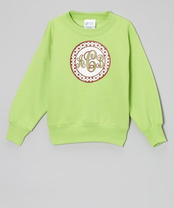 Lime Polka Dot Monogram Sweatshirt - Kids