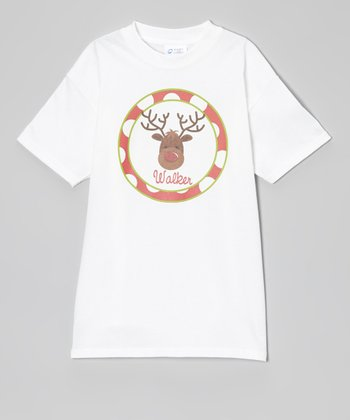 White Rudolph Personalized Tee - Infant, Toddler & Kids