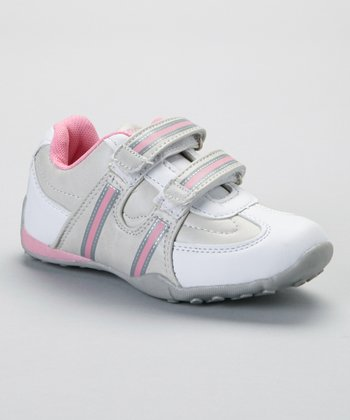 SYKE White & Pink Contrast-Stitch Sneaker