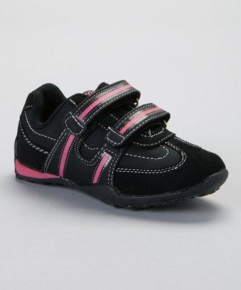 SYKE Black & Fuchsia Contrast-Stitch Sneaker
