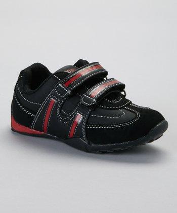 SYKE Black & Red Contrast-Stitch Sneaker