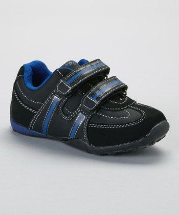SYKE Black & Royal Contrast-Stitch Sneaker