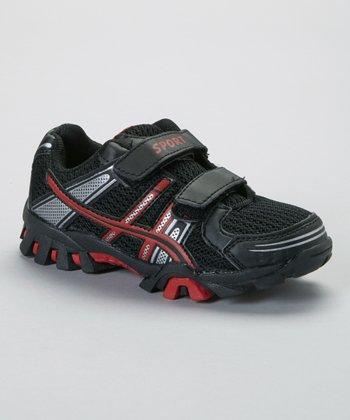 SYKE Black & Red Curvy Stripe Sneaker
