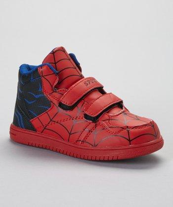 SYKE Red & Black Spider Web Hi-Top Sneaker